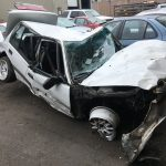 Car damaged from recent accident off i-5