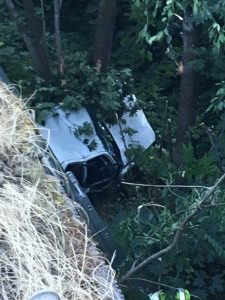 Car plunges 40 ft off i5