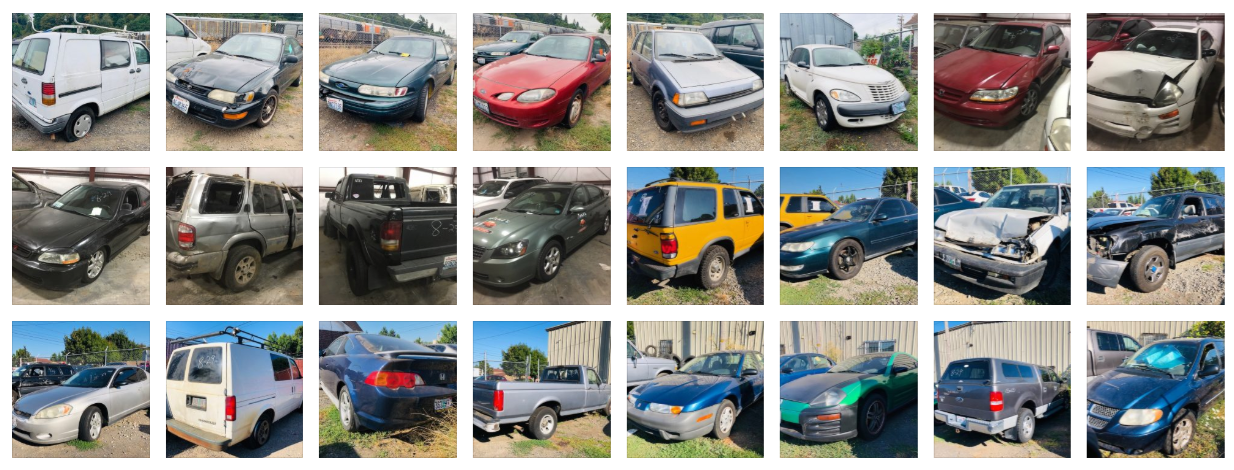 A series of impounded cars